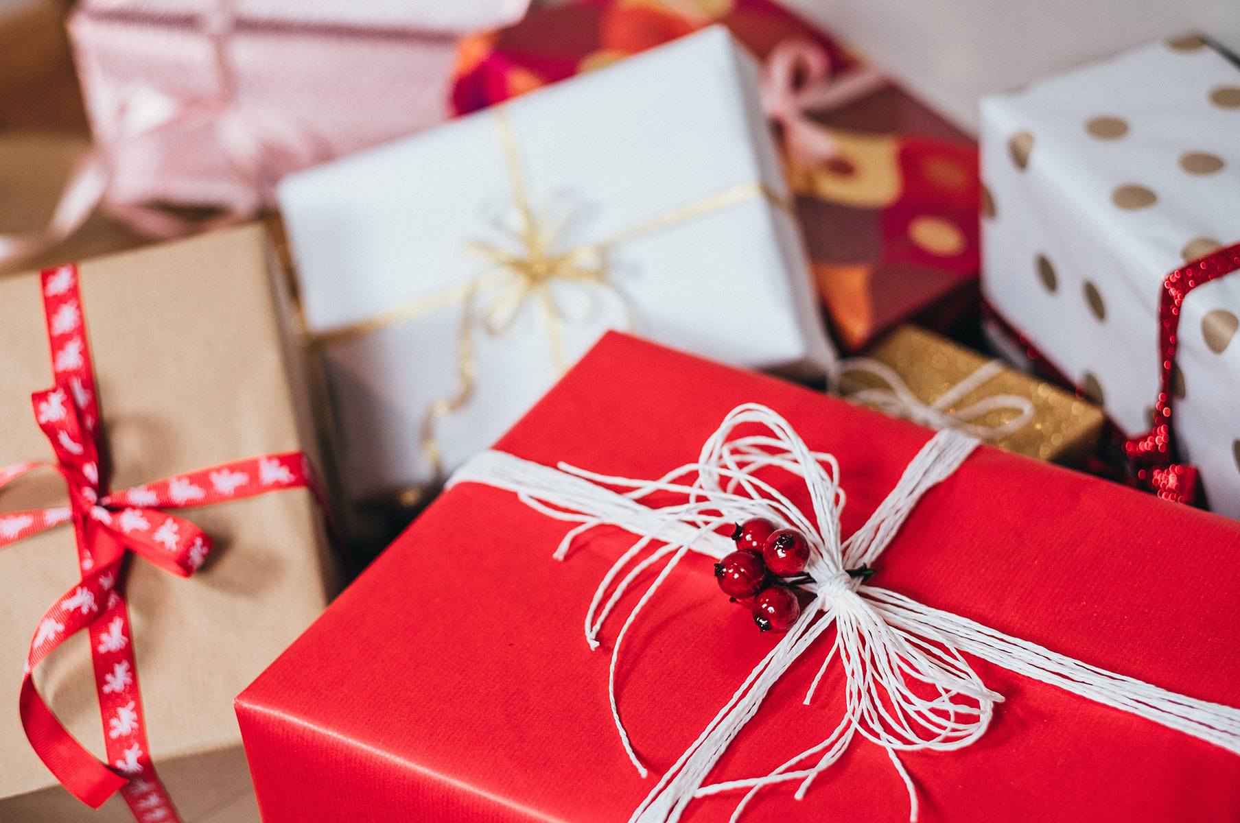 holiday wrapped gifts